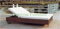 Double rattan lounge chair with white cushions furniture