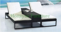 Double grey rattan lounge chair set furniture with cushions
