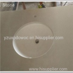 12 Inch Deep Beige Quartz Stone Bathroom Vanity Tops With Sink