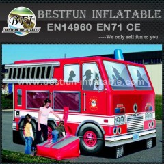 Inflatable fire truck bouncer house