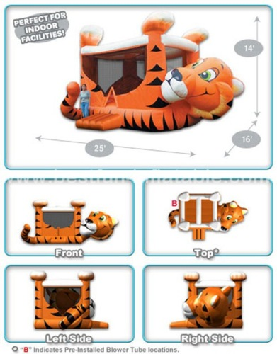 Inflatable tiger belly bouncer house