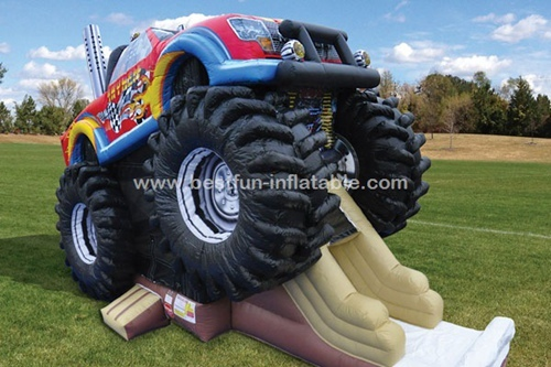 Monster Truck Inflatable Bounce House Slide Combo