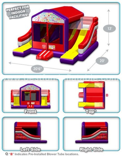 Inflatable bouncy combo with dual lane slide