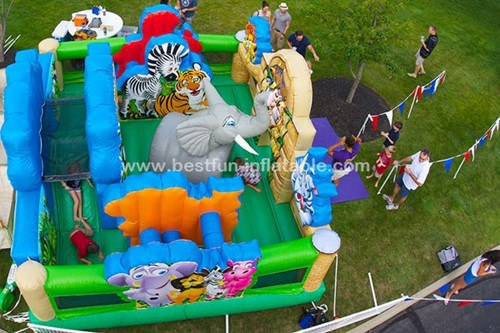 Inflatable Jungle Zoo Playbed Bounce Playland