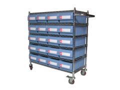 Wire Shelving Trolley met Plastic Shelfull Bins