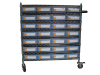 Moving wire shelving carts