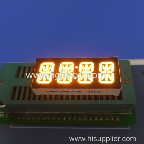 Custom super amber common cathode 4 digit 0.39  14 segment LED Display for instrument panel