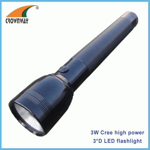 3W Cree LED flashlight 180Lumen powerful 3*D big size waterproof anodized aluminum camping lamps hiking lights