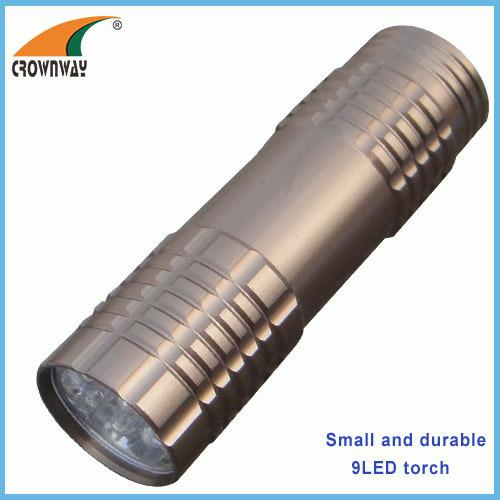 9LED flashlights 15 000MCD high power pocket LED lamp camping lantern anodized aluminum body 3*AAA batteries