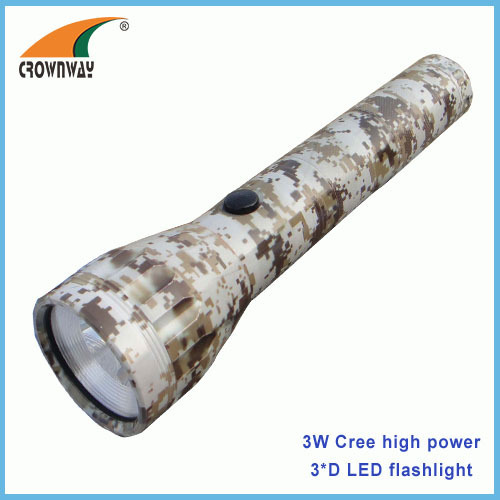 3W Cree LED flashlight 180Lumen 3*D big size waterproof anodized aluminum camping lamps emergency light