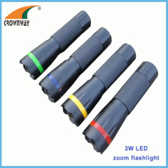 3W Led plastic torch 180Lumen high power 3*AAA battery zoomble light weight hand torch camping lantern CE RoHS approval