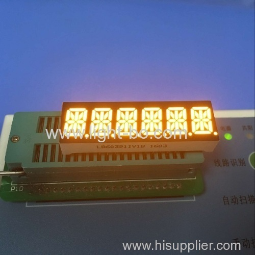 Custom super amber 6 digit 14 segment led display 0.39 for digital indicator