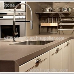 Pure Brown Quartz Kitchen Countertop