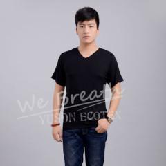 Apparel & Fashion T-shirts Men Bamboo Fiber Summer V-neck Basic Breathable T-shirt