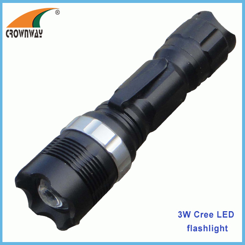 3W Cree LED flashlight 180Lumen powerful hand torch pocket lamp zoomble lantern camping lamps 1*AA clip light
