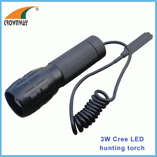 3W Cree Led flashlight Led 180Lumen high power portable camping light 3*AAA battery lamp hunting light wire switch
