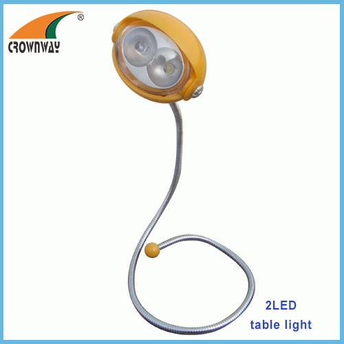2LED gooseneck reading lamp flexible table lamp indoor light 2*CR2032 battery book lamp