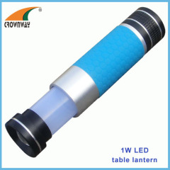 1W LED powerful flashlight zoomble working lamp rubber-grip handle LED table lamp camping lantern 1AA battery light