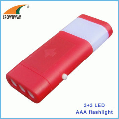 3+3LED portable lamp durable plastic lantern 3*AAA battery table lamp camping light pocket lamp hand torch