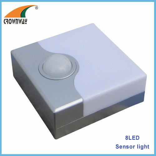 8LED sensor lamp straw hat LED 1500MCD motion sensor light night light cabinet lamp 3*AA battery emergency lamp