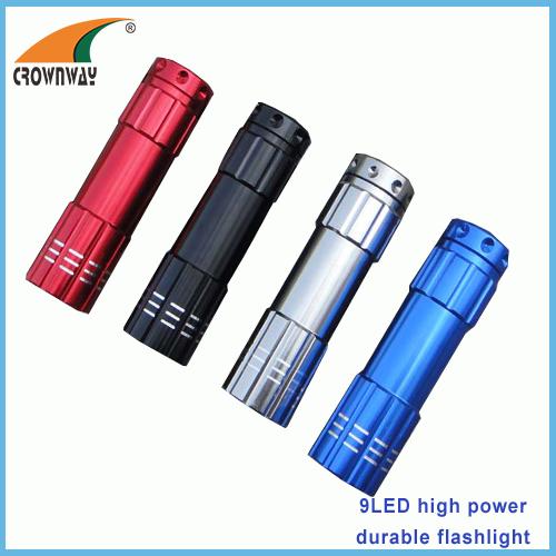 9LED flashlights 15 000MCD high power mini pocket LED lamp camping lantern anodized aluminum body 3*AAA batteries