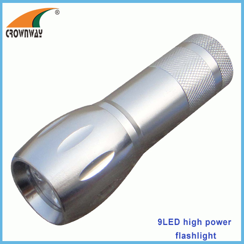 9LED flashlights 15 000MCD high power pocket LED lamp camping lantern anodized aluminum body 3*AAA CE RoHS approval