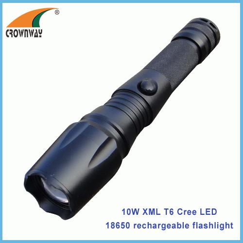 10W XML Cree flashlight portable lantern waterproof shock resistant 1000Lumen 18650 rechargeable repairing light
