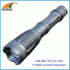 10W XML Cree flashlight zoomble portable lantern waterproof shock resistant 1000Lumen 18650 rechargeable hiking light
