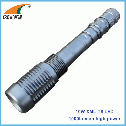 10W XML Cree powerful flashlight zoomble portable lantern waterproof 1000Lumen 18650 rechargeable hiking light