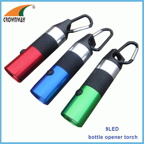 LED bottle opener torch 2*CR2032 battery lamp carabiner keychain light hand torch LED flashlight