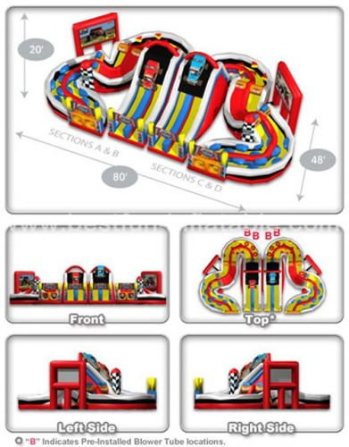 Farigrounds racing inflatable obstacle with slide