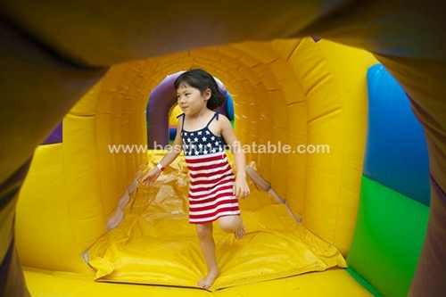 Inflatable jumping bouncer house with slide