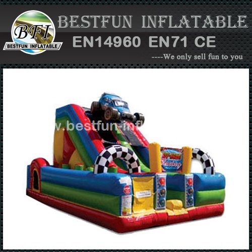 Inflatable combo bounce slide Racing Cars
