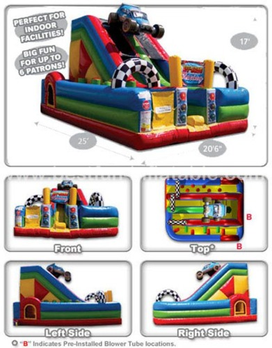 Racing cars style kids games inflatable bouncer with slide combos
