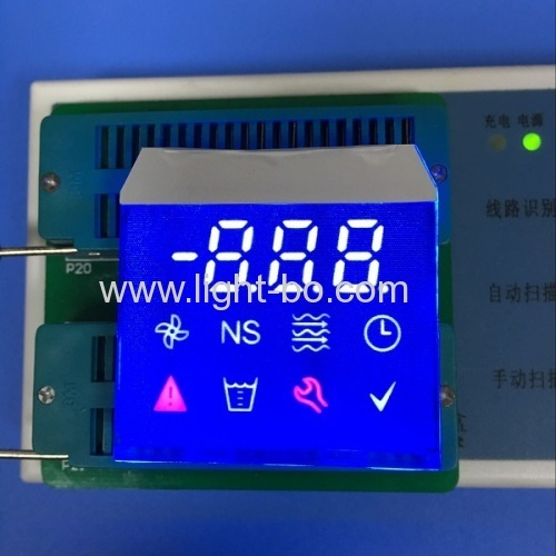 Custom design enhanced background multicolor 7 segment led display with blue led backlight