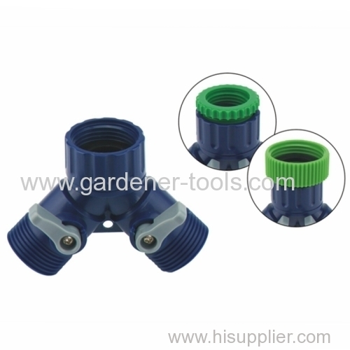 Plastic Y garden hose coupling with valve