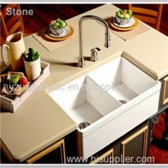 Beige Quartz Stone Kitchen Countertop