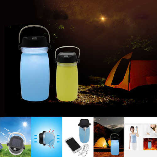 Multi functional silicone folding water bottle with Solar mobile charge function