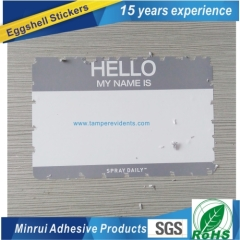 Custom any size any design of high quality Eggshell sticker from China top factory of Destructive label paper