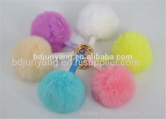 animal fur ball faux fur pom pom key chain