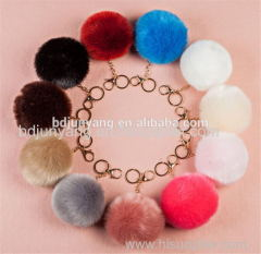 real animal fur ball key ring dryer ball felt ball fur pom pom pendant