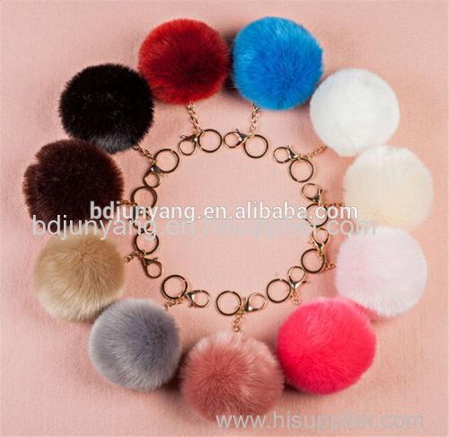 real animal fur ball key ring dryer ball felt ball fur pom pom pendant