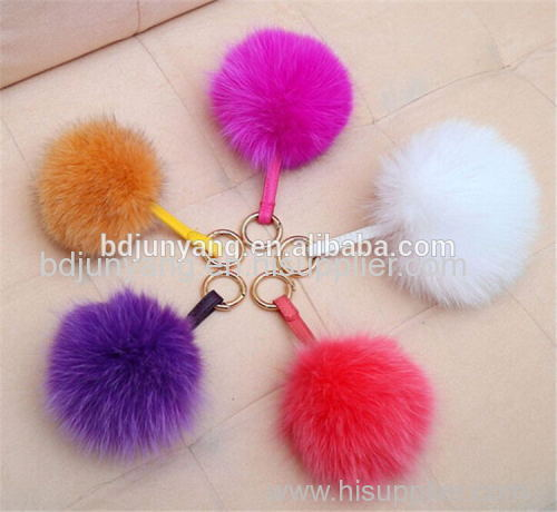 Hot selling fox ball keychain mobile phone and bag pendant real fox fur pompons