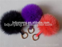 fox fur pom pom faux fake fur ball fur ball keychain felt ball