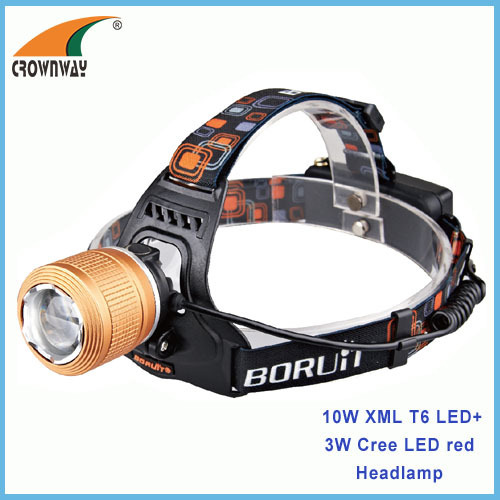 10W XML T6 Cree LED Headlamp 500Lumen high power headlight camping lantern 4*AA fishing lamp CE RoHS standard