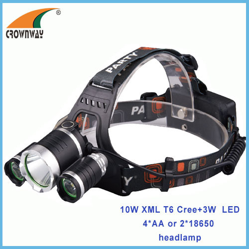 10W XML T6 Cree +2pcs 3W CreLED Headlamp 500Lumen headlight camping lantern 2*18650 rechargeable fishing lamp CE RoHS