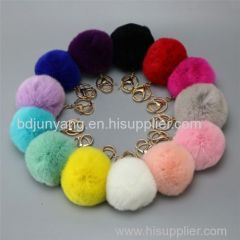 rabbit fur pom pom fox mink raccoon fur ball faux ball keychain felt ball
