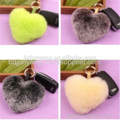 rabbit fox mink fur pom pom fur ball keychain pendant