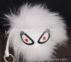 Cute monster fur face keychain bag and key ring pendant