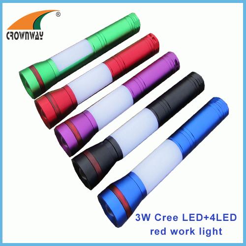 3W LED powerful flashlight red warning 180Lumen magnet lamp camping lantern 3AAA battery light